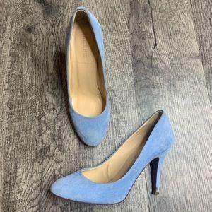 J. CREW | Blue Suede Mona Round Toe Pump Heels